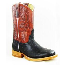 Black-Faux-Ostrich-Boots
