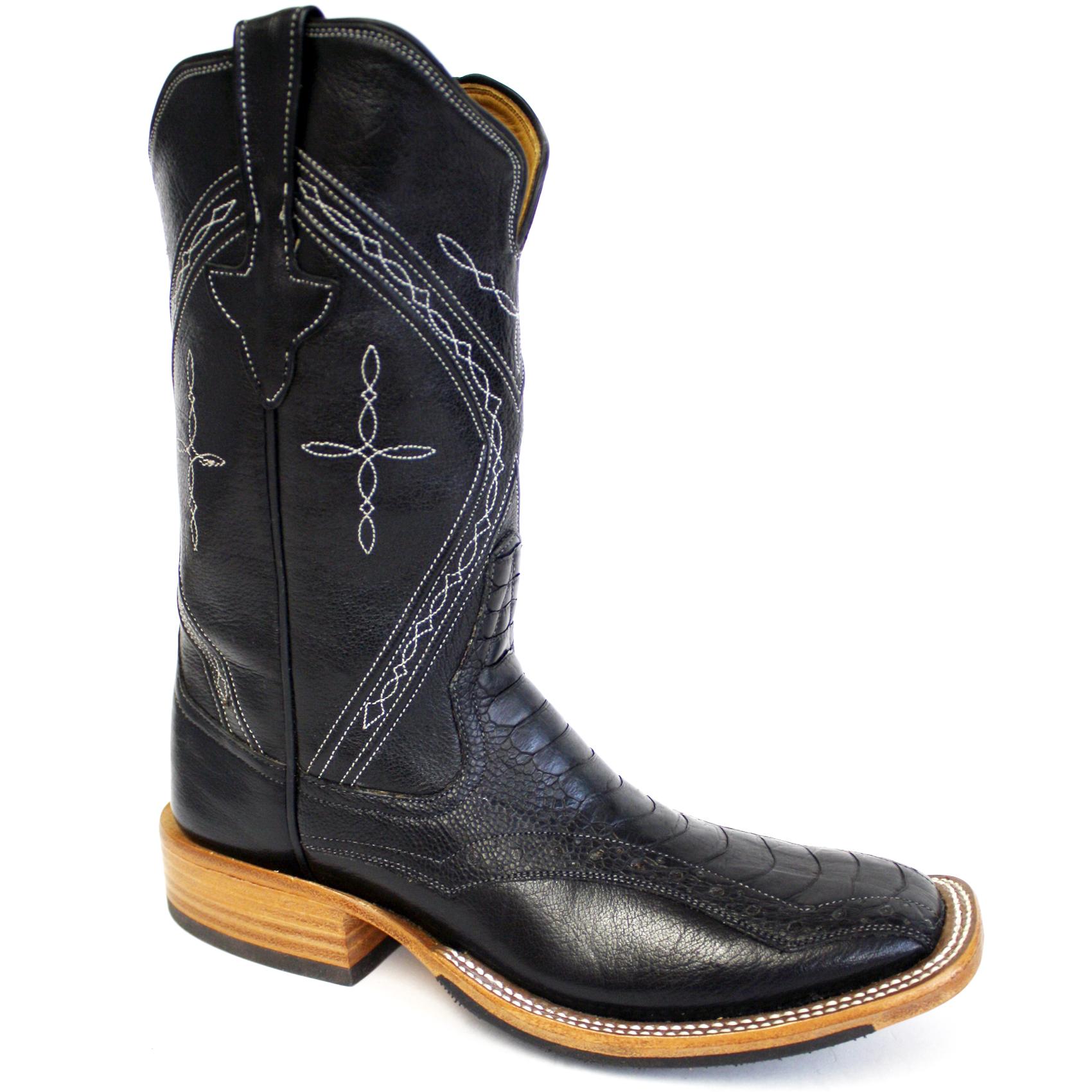 Black Ostrich Leg Boots