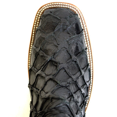 Black pirarucu boots harris leather silverworks for Fish scale boots