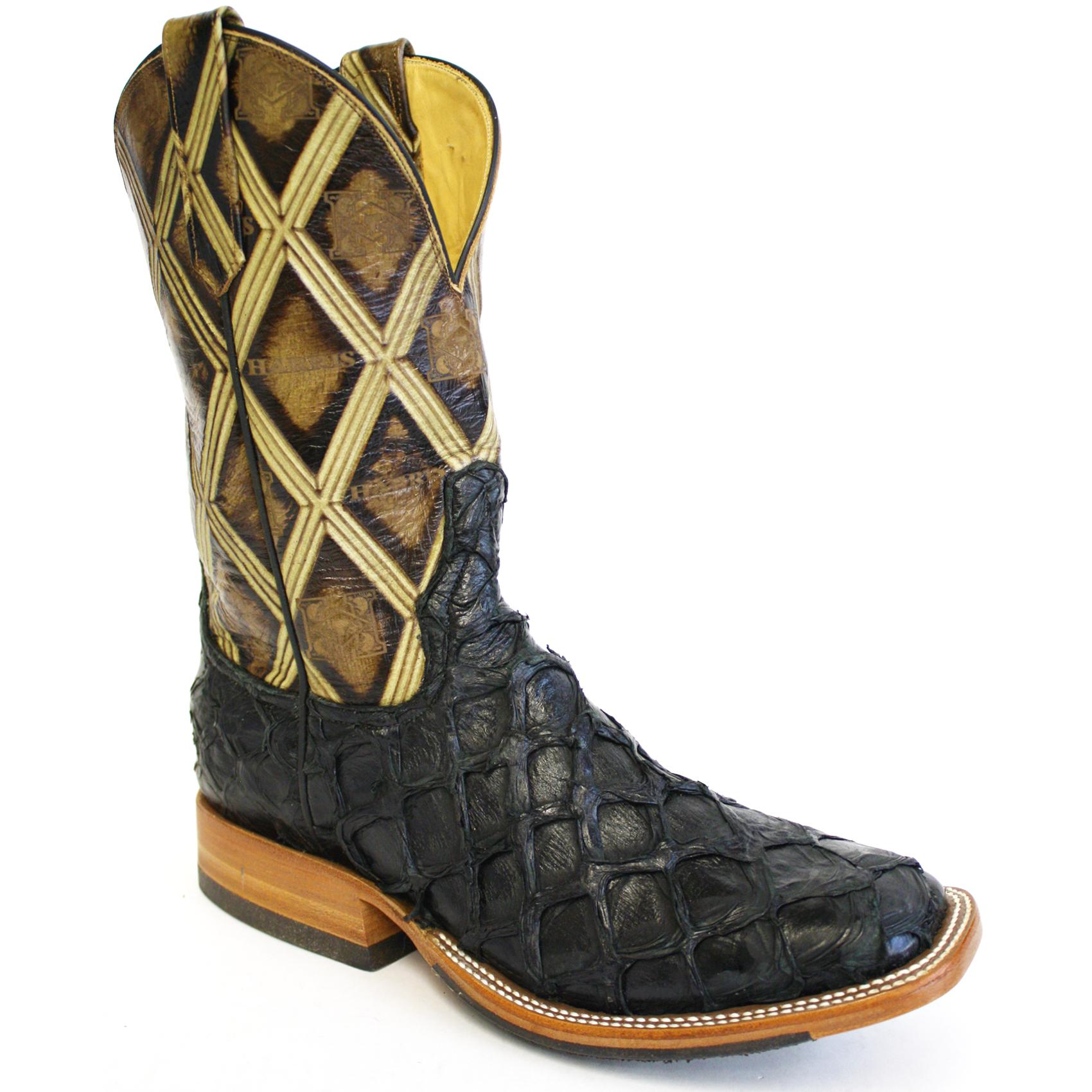 Black pirarucu boots harris leather silverworks for Pirarucu fish boots