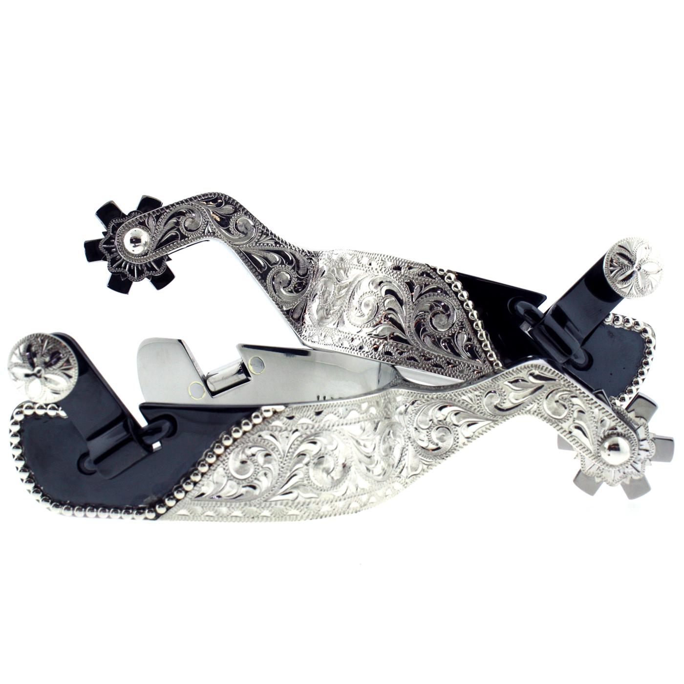 Blued Steel & Engraved Silver Spurs