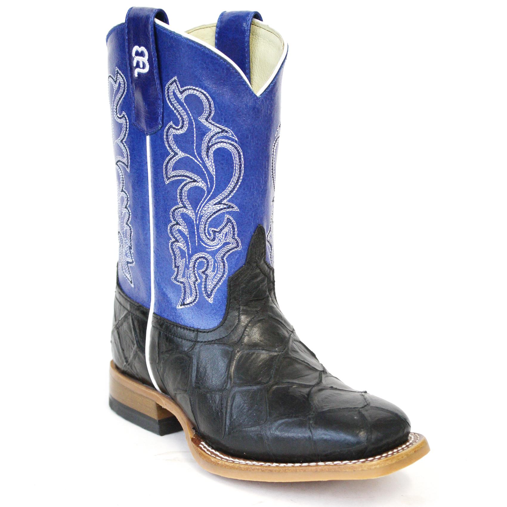 Childs Blue Black Round Toe Faux Leather Cowboy Boots Cushion Insoles SALE!!